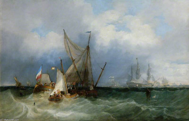 dutch vessels und ein Man-of-war bei meer von John Wilson Carmichael (1800-1868, United Kingdom)