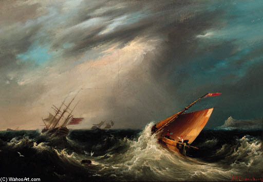 Riding Out A Gale von John Wilson Carmichael (1800-1868, United Kingdom)