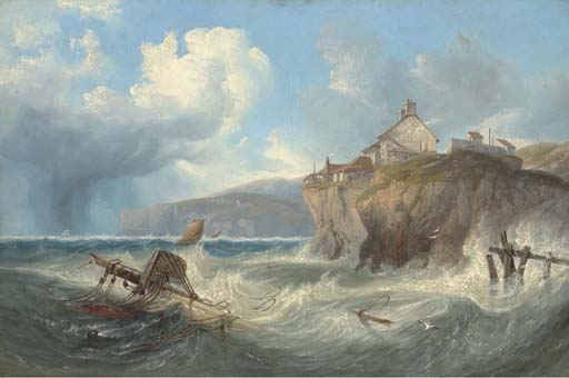 Wreckage In Robin Hoods Bay von John Wilson Carmichael (1800-1868, United Kingdom)
