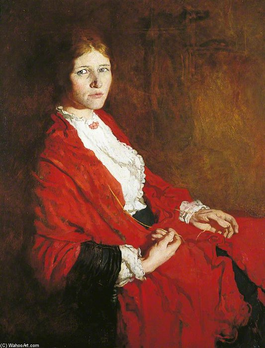 The Red Scarf von William Newenham Montague Orpen (1878-1931, Ireland)