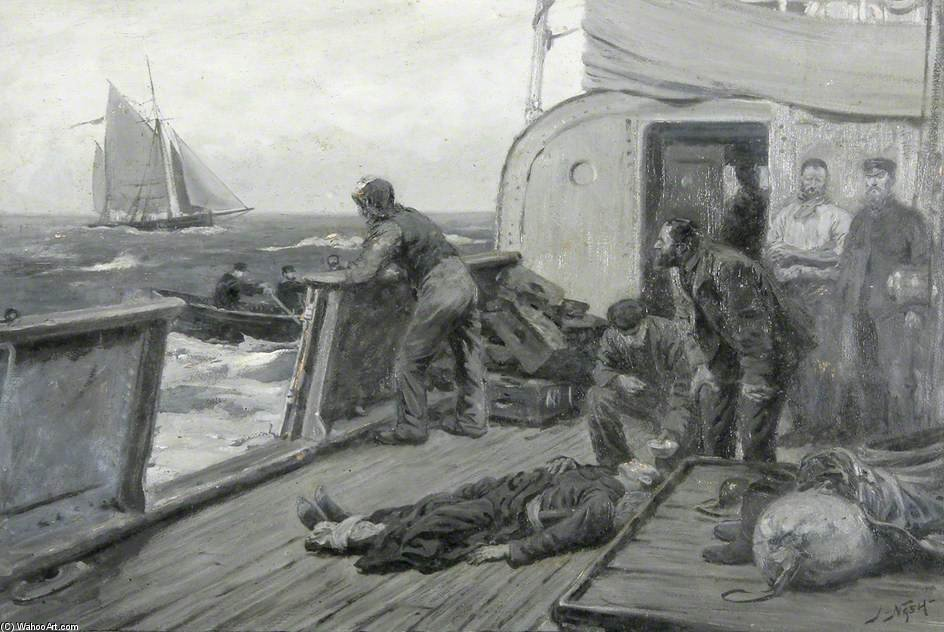 Casualty At Sea von Joseph Nash The Younger (1835-1922, United Kingdom)