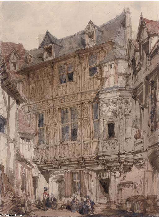 Gassen von Rouen von Joseph Nash The Younger (1835-1922, United Kingdom)