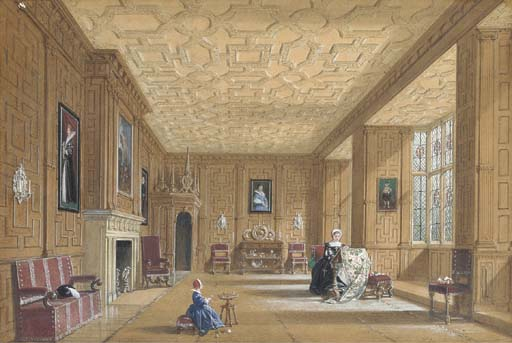 Eiche zimmer im broughton castle in der nähe von banbury , Oxfordshire von Joseph Nash The Younger (1835-1922, United Kingdom)