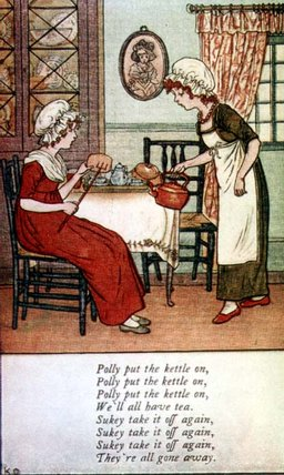 Polly setzte den Kessel an von Kate Greenaway (1846-1901, United Kingdom)