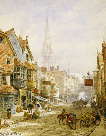 Die High Street, Salisbury von Louise Rayner (1832-1924, United Kingdom)