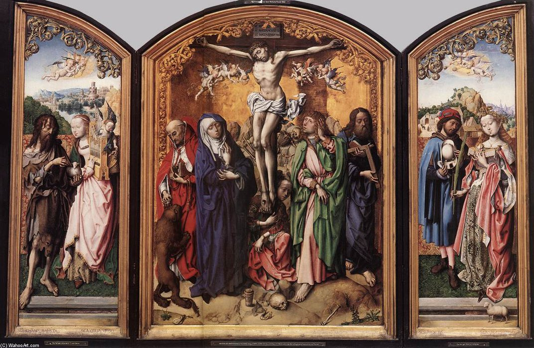 kreuzigung Altarbild  von Master Of The St Bartholomew Altar (1450-1510, Germany)