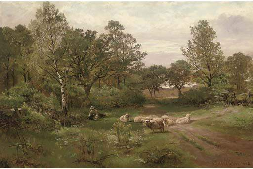 a sommer nachmittag Nahe Tettenhall Wald von Henry Hadfield Cubley (1858-1934, United Kingdom)