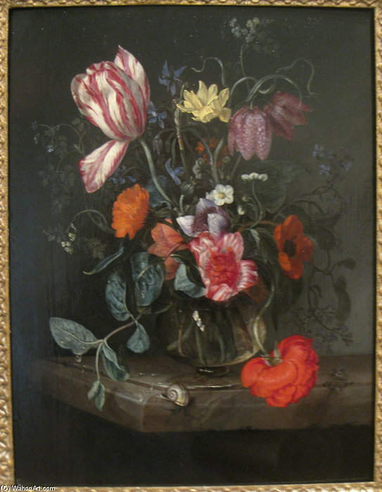 blumen in a vase von Jacob Van Walscapelle (1644-1727, Netherlands)