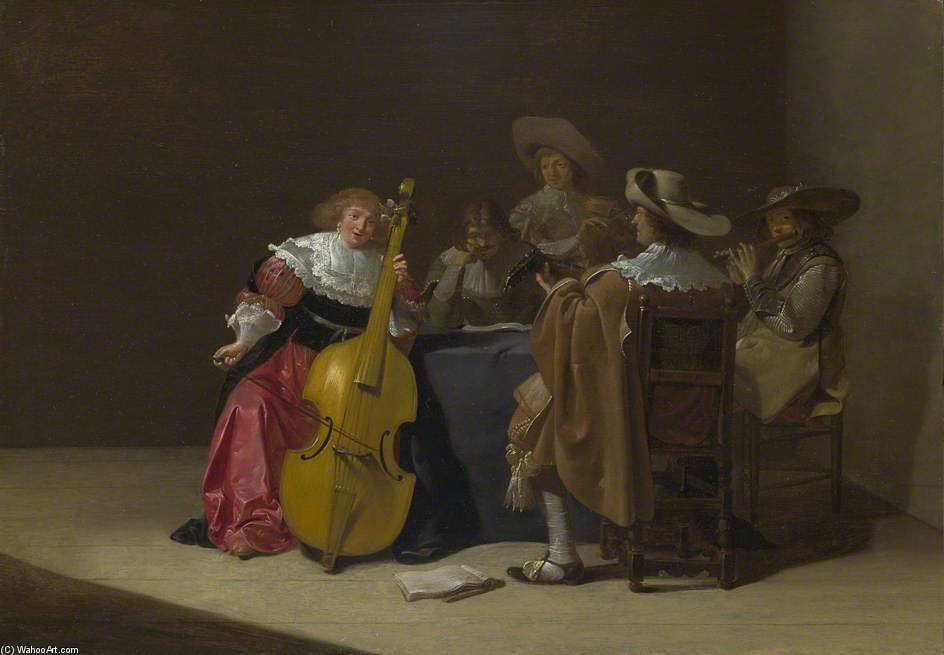a musikalisch party von Jan Olis (1610-1676, Netherlands)