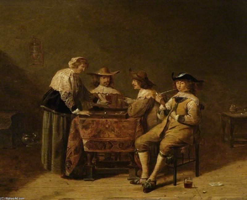 Gentlemen Backgammon von Jan Olis (1610-1676, Netherlands) | ArtsDot.com