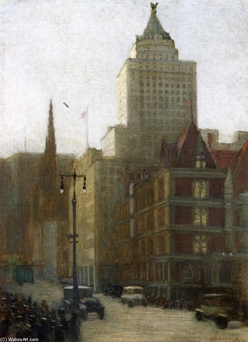 57th Street an der Fifth Avenue von Aaron Harry Gorson (1872-1933, Lithuania)