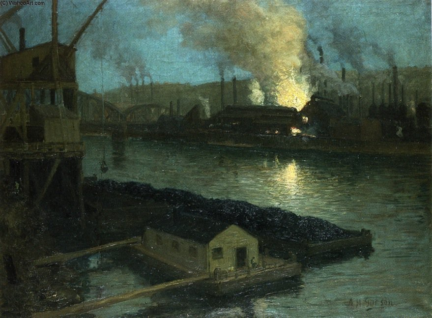 Pittsburgh Mills in der nacht von Aaron Harry Gorson (1872-1933, Lithuania)