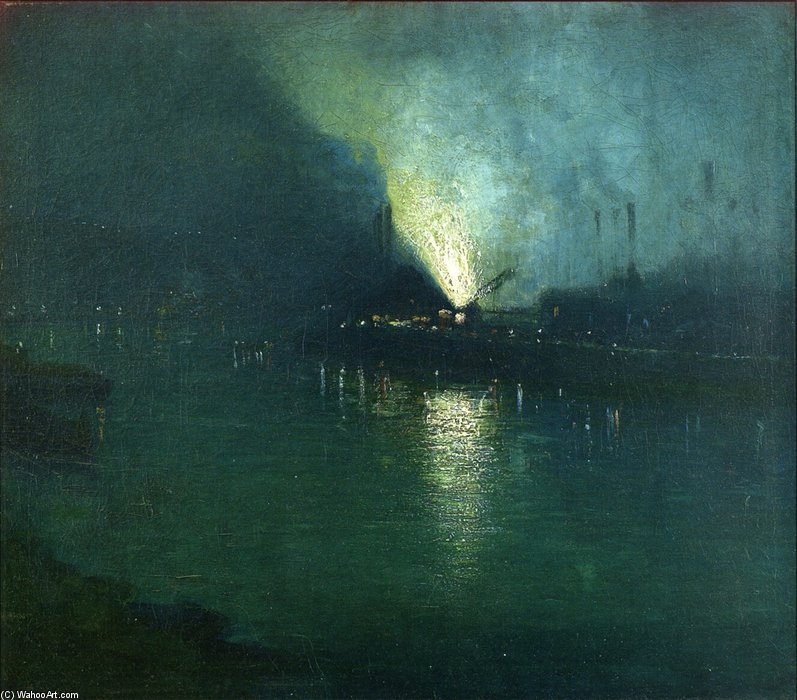 Stahlwerke - Nocturne, Pittsburgh von Aaron Harry Gorson (1872-1933, Lithuania)