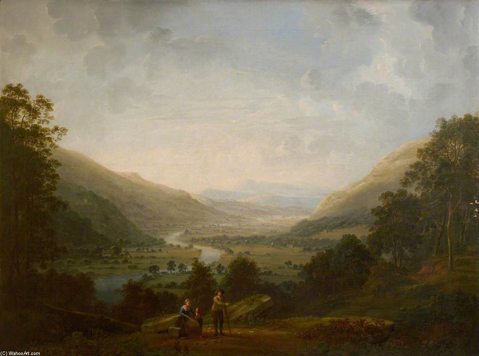 Langdale Tal mit dem Fluss Brathay von Anthony Devis (1729-1816, United Kingdom)