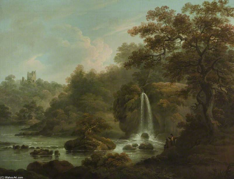 Der Weeping Rock Ein Wasserfall in der Nähe von Ripon Hackfall, West Riding of Yorkshire von Anthony Devis (1729-1816, United Kingdom)