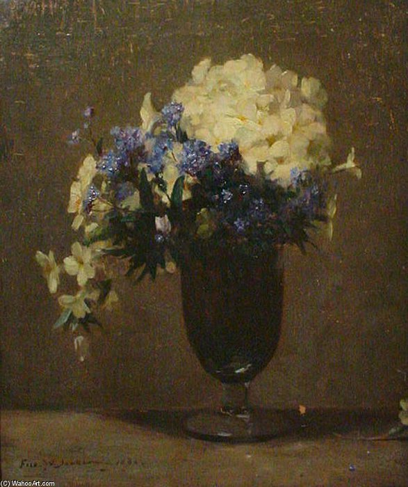 Primeln in ein Glas Vase von Frederick William Jackson (1859-1918, United Kingdom)