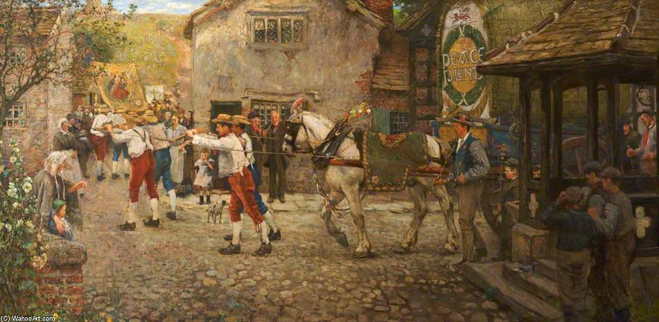 Rushbearing Bei Middleton, Rochdale, Lancashire von Frederick William Jackson (1843-1942, United States)