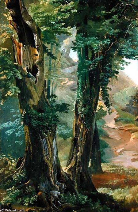 Old Elms von Friedrich Nerly (1808-1878, Germany)
