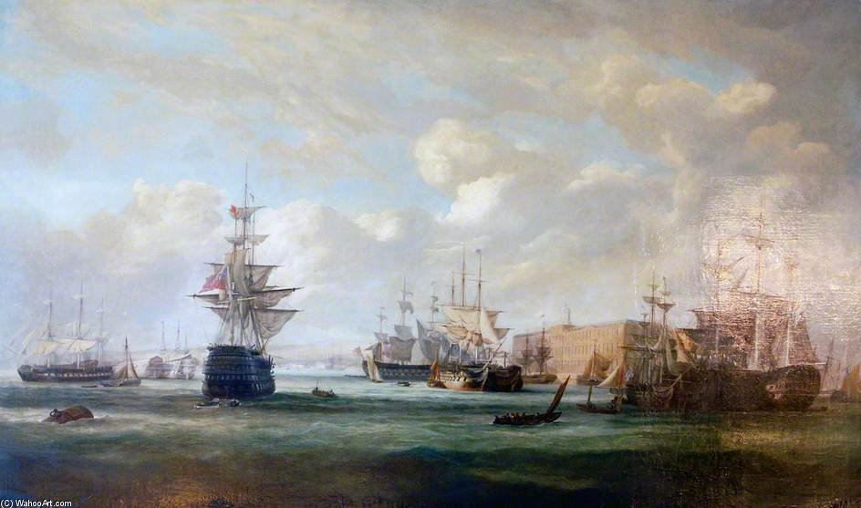 Portsmouth-Hafen von John Christian Schetky (1778-1874, United Kingdom)