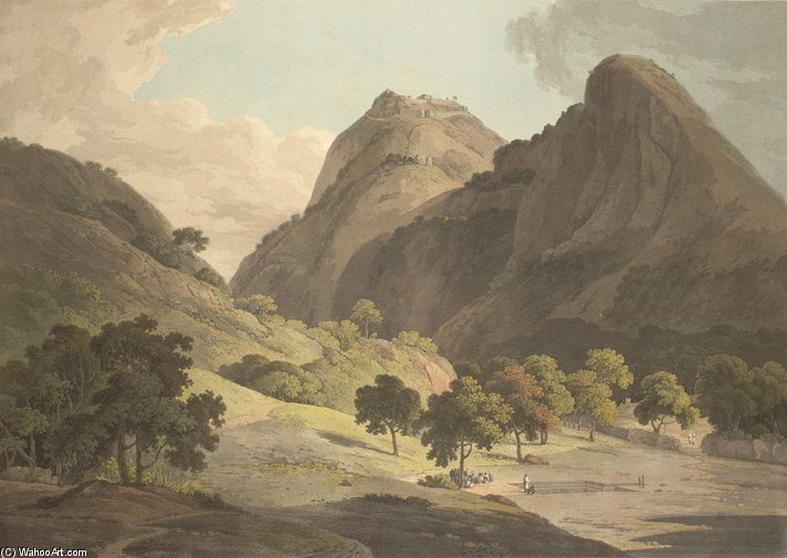 Riss deo und warrangur , burgwälle in der Barramah'l von Thomas And William Daniell (1769-1837, United Kingdom)