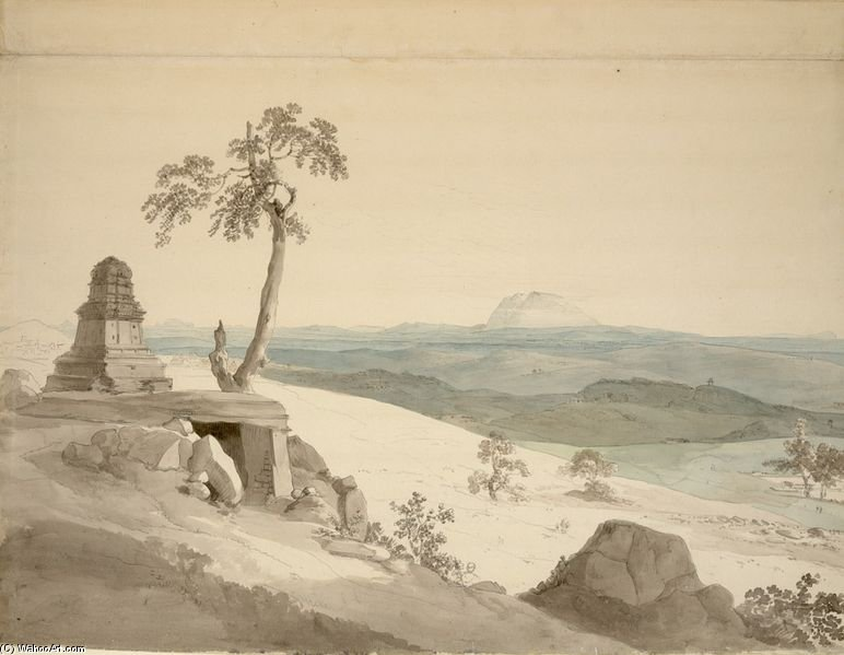 Tempel in der Nähe von Benares von Thomas And William Daniell (1769-1837, United Kingdom)
