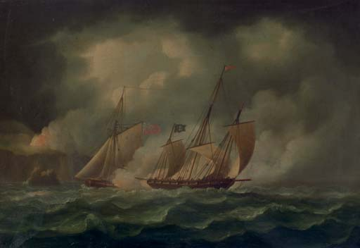 A Revenue Cutter jagt ein Pirate Lugger von Thomas Buttersworth (1768-1842, United Kingdom)