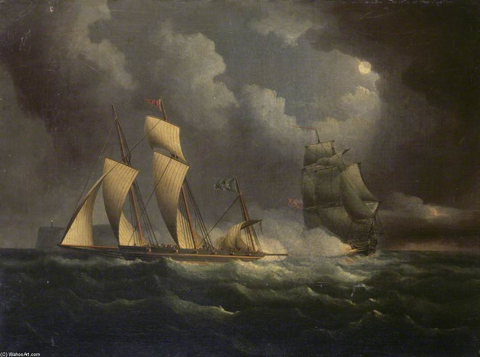 A Schmuggel Lugger Gejagt By A Naval Brig von Thomas Buttersworth (1768-1842, United Kingdom)