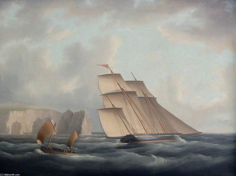 Ein Dreimaster Lugger Off The Needles von Thomas Buttersworth (1768-1842, United Kingdom)