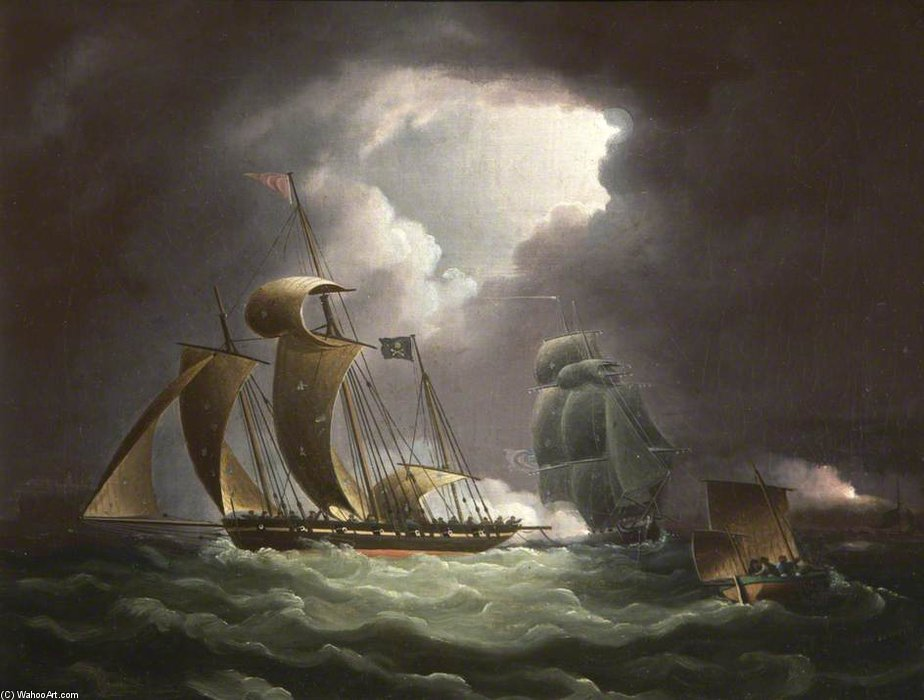 Chase Of The Pirate Lugger 'wird beobachten von Thomas Buttersworth (1768-1842, United Kingdom)
