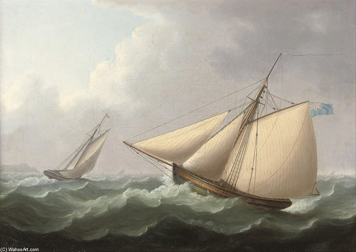 Cutters In Pursuit in eine steife Brise Offshore von Thomas Buttersworth (1768-1842, United Kingdom)