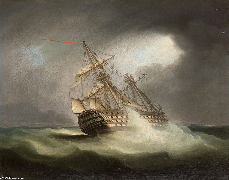 HMS 'Sieg' In Full Sail Und in einem Squall von Thomas Buttersworth (1768-1842, United Kingdom)