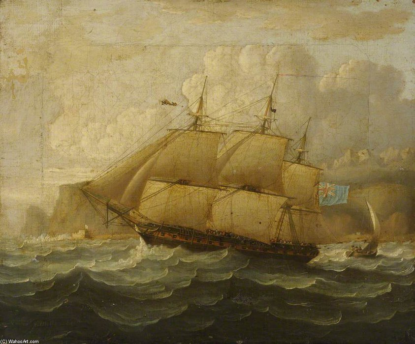 HMS Leander At Sea von Thomas Buttersworth (1768-1842, United Kingdom)