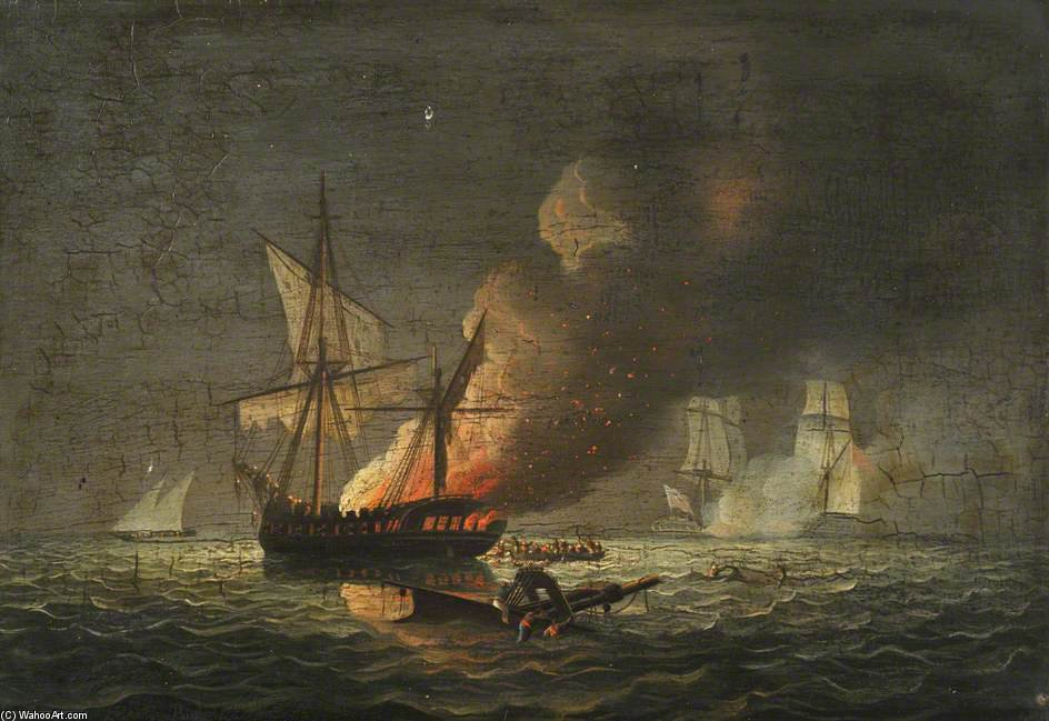 HMS Seepferdchen Capturing The Badiri-i-Zaffer von Thomas Buttersworth (1768-1842, United Kingdom)