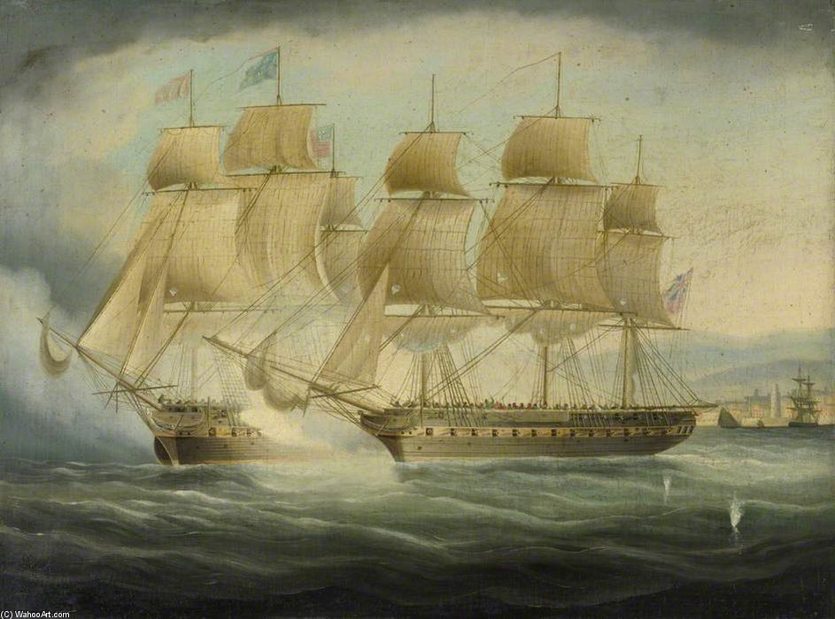 Hms 'shannon' Taking Uss 'Chesapeake' von Thomas Buttersworth (1768-1842, United Kingdom)
