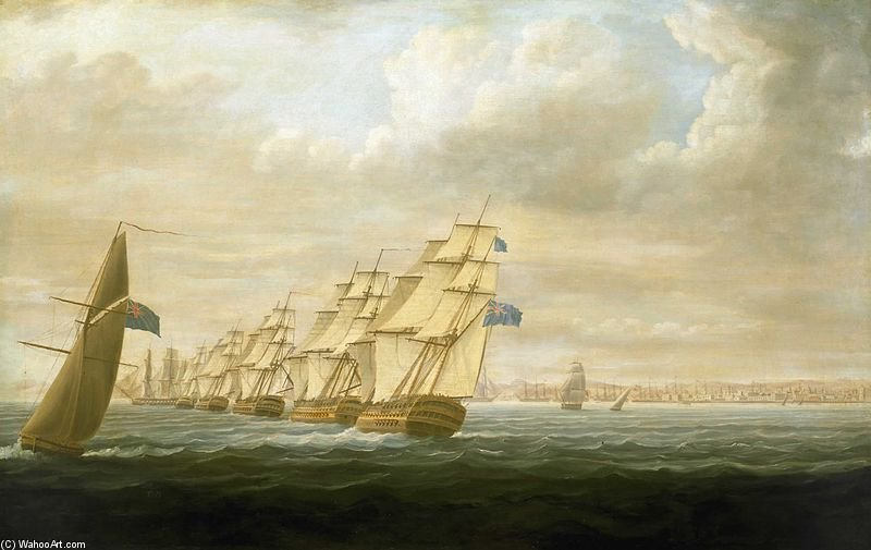 Nelsons Geschwader in Cadiz von Thomas Buttersworth (1768-1842, United Kingdom)