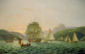 Thomas Luny - Meerlandschaft, Männer O War in Dartmouth