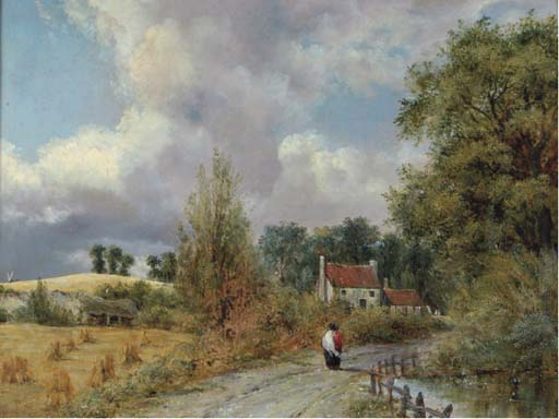 A Country Lane von Frederick Waters (William) Watts (1800-1870, United Kingdom)