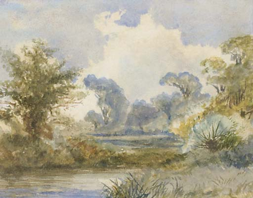 a fluss landschaft von Frederick Waters (William) Watts (1800-1870, United Kingdom)