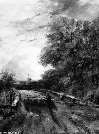 ein hirte und sein Herde crossing a Brücke , Ein windmühle in ein landschaft Über hinaus von Frederick Waters (William) Watts (1800-1870, United Kingdom)