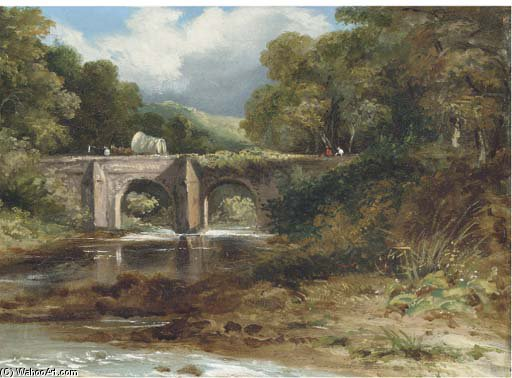 Über die Brücke von Frederick Waters (William) Watts (1800-1870, United Kingdom)