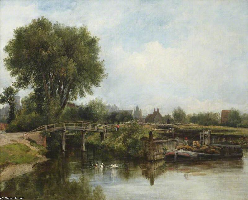 The Old Lock, Windsor von Frederick Waters (William) Watts (1800-1870, United Kingdom)