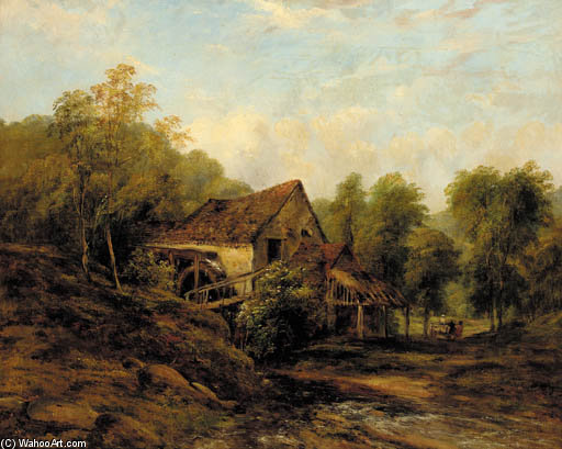 der alte wasser mühle von Frederick Waters (William) Watts (1800-1870, United Kingdom)