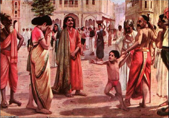 Harischandra In Distress von Raja Ravi Varma (1848-1906, India)