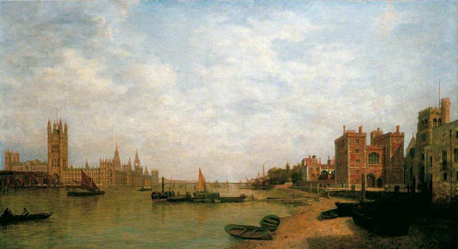 Westminster Von Lambeth von Henry Pether (1828-1865, United Kingdom)