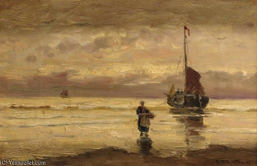 Ein Beached Bomschuit At Sunset von Gerhard Arij Ludwig Morgenstje Munthe (1875-1927, Belgium)