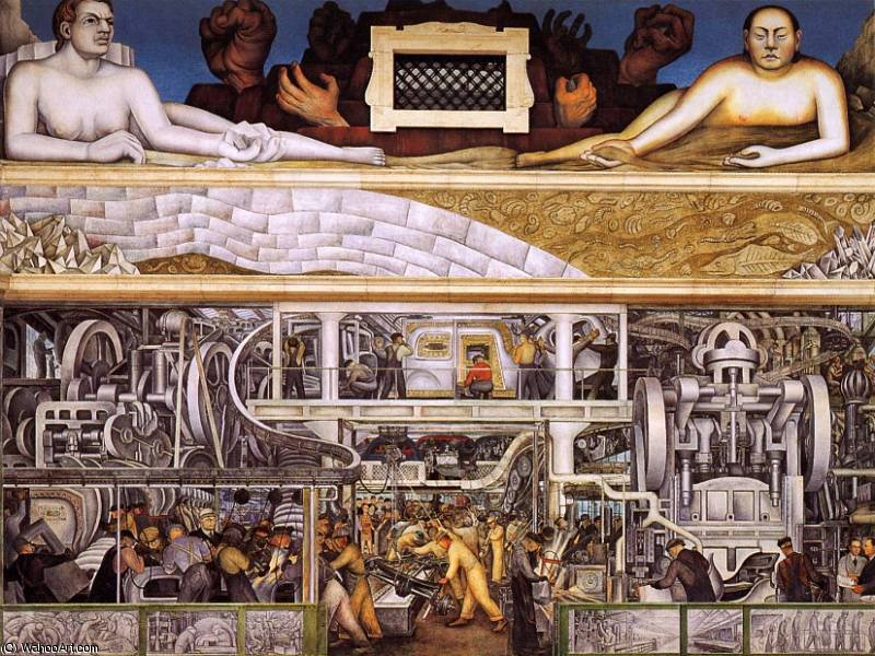 Industrie detroit, 1933 von Diego Rivera (1886-1957, Mexico)
