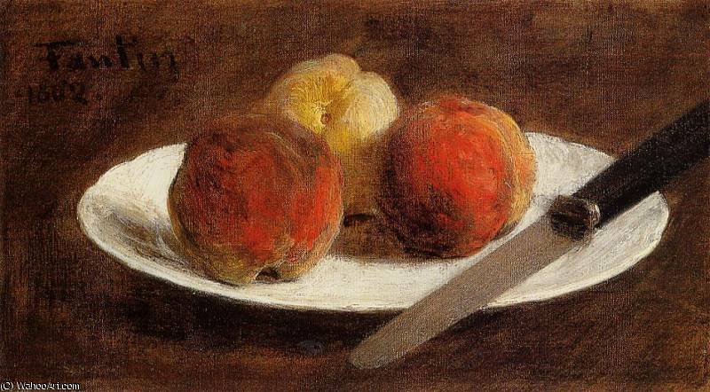 Plate of Peaches von Henri Fantin Latour (1836-1904, France)