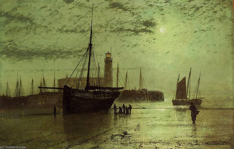 Der Leuchtturm am Scarborough von John Atkinson Grimshaw (1836-1893, United Kingdom)