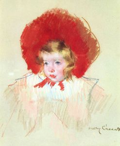 Mary Stevenson Cassatt - kind mit Ein  rot  hut