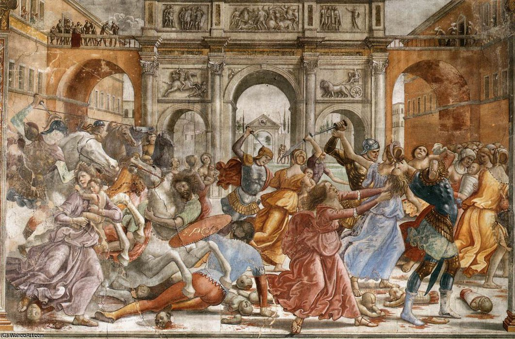 1.leftt Wand - Slaughter of the Innocents von Domenico Ghirlandaio (1449-1494, Italy) | Museum Kunstreproduktionen | ArtsDot.com